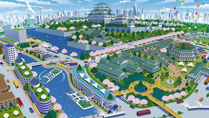 名古屋城付近の未来予想図